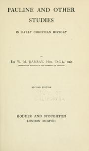 Cover of: Pauline and other studies in early Christian history