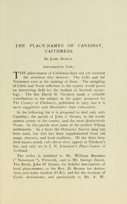 Cover of: The place-names of Canisbay, Caithness
