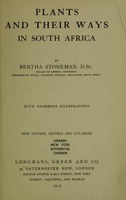 Cover of: Plants and their ways in South Africa. | Bertha Stoneman