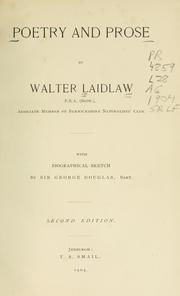 Cover of: Poetry and prose | Walter Laidlaw