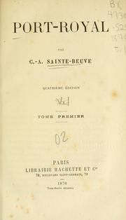 Cover of: Port-Royal. by Charles Augustin Sainte-Beuve