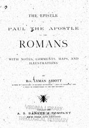 Cover of: The epistle of Paul the Apostle to the Romans |
