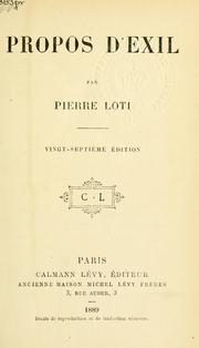 Cover of: Propos d'exil