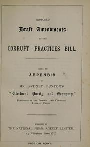 Cover of: Proposed draft amendments to the Corrupt Practices Bill