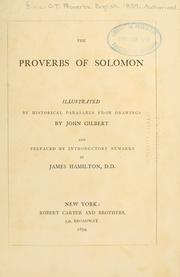 Cover of: The Proverbs of Solomon |