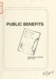 Cover of: Public benefits: commonwealth center. | Boston Redevelopment Authority