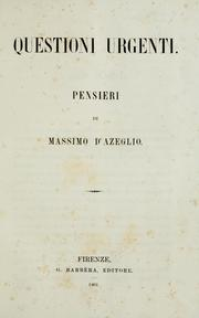 Cover of: Questioni urgenti