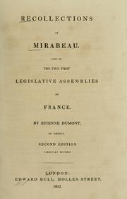 Cover of: Recollections of Mirabeau | Etienne Dumont