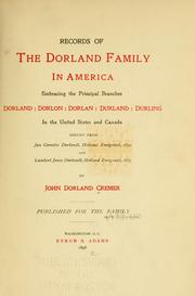 Cover of: Records of the Dorland family in America | John Dorland Cremer