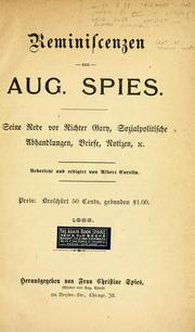 Cover of: Reminiscenzen von Aug. Spies
