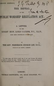 Cover of: The repeal of the public worship regulation act