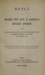 Cover of: Reply to Major the Hon. E. Baring