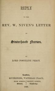 Reply to the Rev. W. Nivens Letter on sisterhood nurses