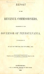 Cover of: Report of the Revenue Commissioners | Pennsylvania. Revenue Commission.