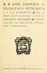 Cover of: Rime disperse di Francesco Petrarca, o a lui attribuite