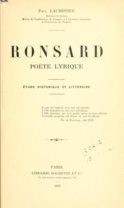 Cover of: Ronsard, poète lyrique
