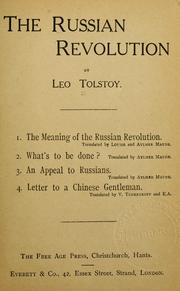 Cover of: The Russian Revolution | Tolstoy