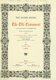 Cover of: The sacred books of the Old Testament |