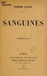 Cover of: Sanguines