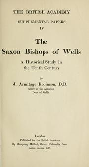 Cover of: The Saxon bishops of Wells