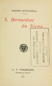 Cover of: S. Bernardino da Siena