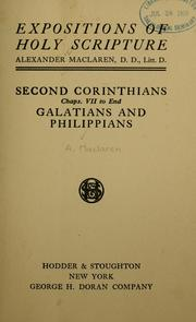 Cover of: Second Corinthians, Chapters VII to end, Galatians and Philippians