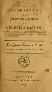 Cover of: A second inquiry into the nature and design of Christian baptism