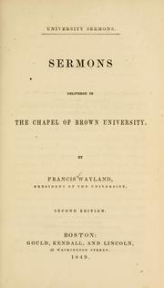 Cover of: Sermons delivered in the Chapel of Brown University