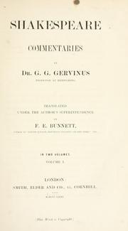 Cover of: Shakespeare commentaries | Gervinus, Georg Gottfried