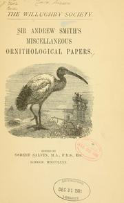 Sir Andrew Smiths Miscellaneous ornithological papers.