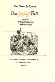 Cover of: So now is come our joyful'st feast
