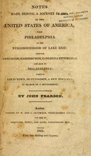 Cover of: Notes during a journey in 1821 in the United States of America | Pearson, John of Ewell, Surrey, Eng.