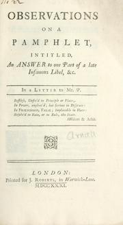 Cover of: Observations on a pamphlet intitled An answer to one part of a late infamous libel, etc