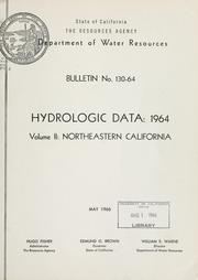 Hydrologic data, 1964 by California. Dept. of Water Resources.