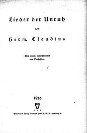 Cover of: Lieder der Unruh