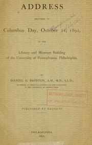 Cover of: Address delivered on Columbus day