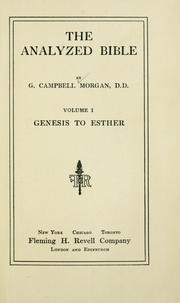 Cover of: analyzed Bible | Morgan, G. Campbell