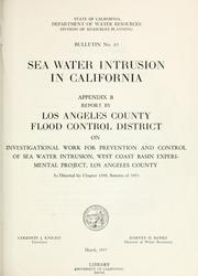 Sea-water intrusion in California by California. Dept. of Water Resources.