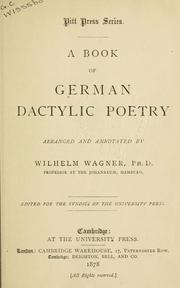 Cover of: A book of German dactylic poetry