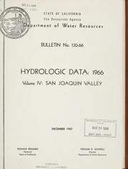 Hydrologic data, 1966 by California. Dept. of Water Resources.
