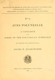 Cover of: Aves polynesiae | Lionel K. Wiglesworth