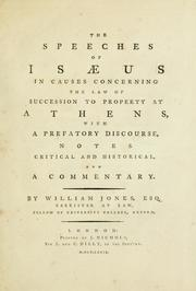 Cover of: The speeches of Isaeus in causes concerning the law of succession to property at Athens