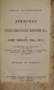 Cover of: Speeches on parliamentary reform, &c