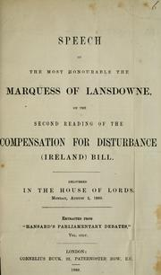 Cover of: Speech of the most honourable the Marquess of Lansdowne | Lansdowne, Henry Charles Keith Petty-FitzMaurice Marquess of