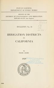 Cover of: Irrigation districts in California