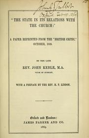 Cover of: The state in its relations with the church