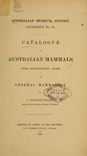 Cover of: Catalogue of Australian mammals