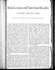 Cover of: Brain lesions and functional results