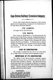 Cover of: Cape Breton Railway Extension Company of Canada, 1890 | Cape Breton Railway Extension Company.