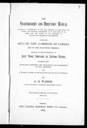 Cover of: The shareholders' and directors' manual containing a compendium of the laws relating to joint stock companies | J. D. Warde